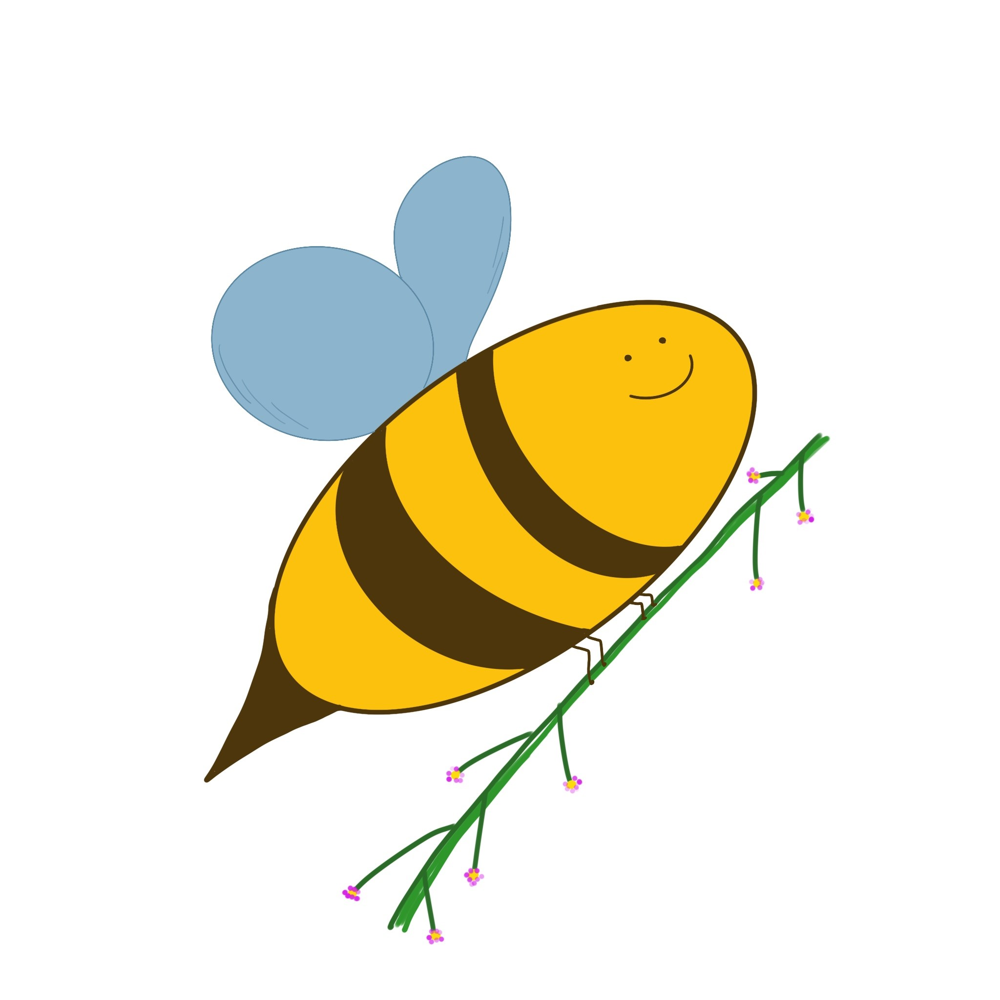 {#Biene mit Pflanze}